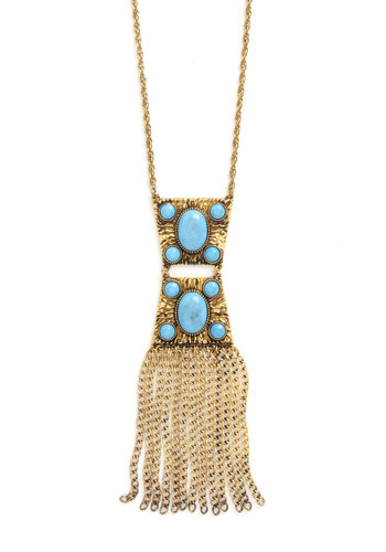 Global Sensation Necklace - Blue, Gold, Solid, Fringed, Vintage Inspired, 20s, Good, Tiered, Chain, Gold