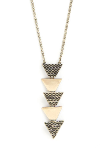 Astonishing Artistry Necklace - Gold, Solid, Tiered, Good, Chevron, Gold