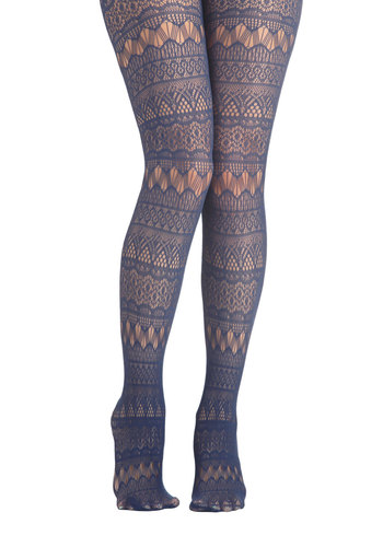 Fun From Within Tights in Blue - Blue, Solid, Better, Sheer, Knit, Lace, Folk Art, Lace, Film Noir, French / Victorian