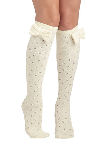 Baking Date Socks in Vanilla - Cream, Solid, Bows, Eyelet, Good, Variation, Scholastic/Collegiate