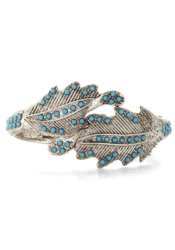 Fancy Foliage Bracelet - Blue, Silver, Solid, Good, Silver, Gals