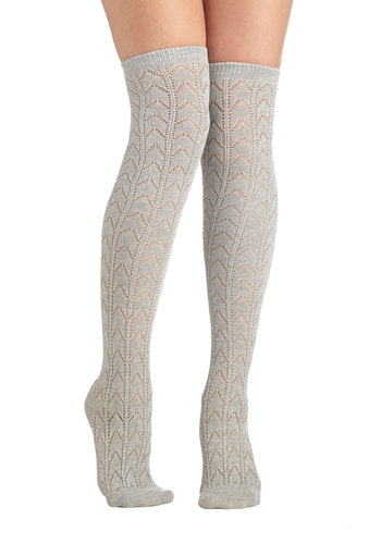 Early Warming Socks in Grey - Grey, Chevron, Good, Variation, Knit, Solid, Eyelet, Scholastic/Collegiate