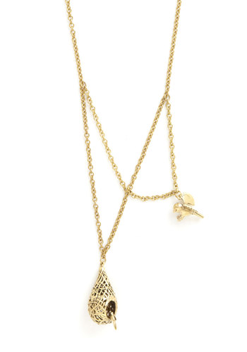 What's Nest? Necklace by Monserat De Lucca - Gold, Print with Animals, Casual, Best, Solid, Fairytale, Gold