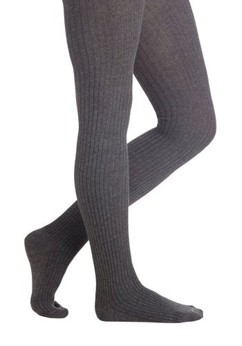 Cover Your Basics Tights in Grey - Grey, Solid, Better, Variation, Basic, Knitted, Scholastic/Collegiate, Fall, Winter, Knit