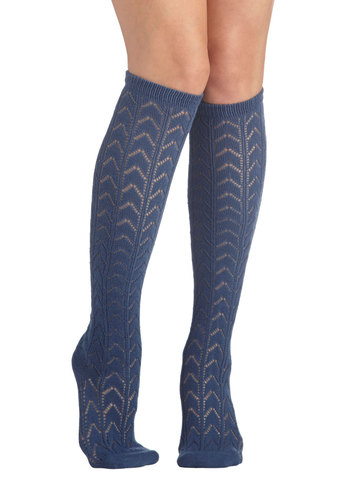 Early Warming Socks in Blue - Blue, Chevron, Eyelet, Good, Variation, Solid, Scholastic/Collegiate, Knit, 90s