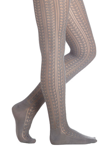 Stepping Stone Path Tights - Grey, Solid, Eyelet, Better, Sheer, Knit