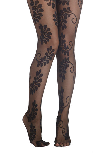 Conversation Centerpiece Tights - Black, Better, Sheer, Knit, Print
