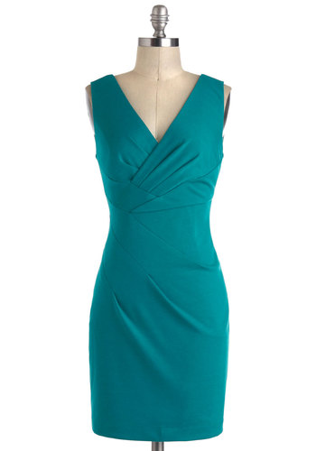 Angles of Mine Dress - Blue, Solid, Pleats, Party, Sheath / Shift, Sleeveless, Short, V Neck, Top Rated