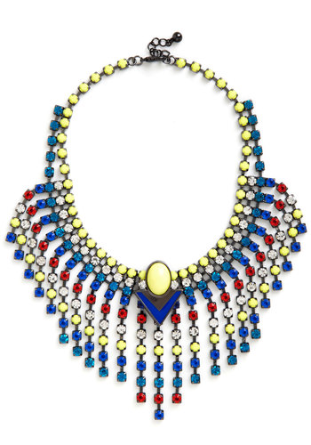 Super-Duper Fun Necklace - Multi, Solid, Rhinestones, Statement, 20s