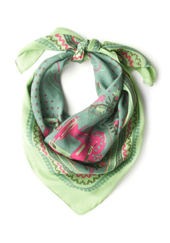 Sew This is Love Scarf by Blutsgeschwister - Green, Sheer, International Designer, Pink, Novelty Print, Folk Art