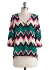 Bright Bryce Canyon Top - Multi, Green, Pink, Black, White, Chevron, Buttons, Casual, Good, Mid-length, Woven, 3/4 Sleeve, Multi, 3/4 Sleeve, Top Rated