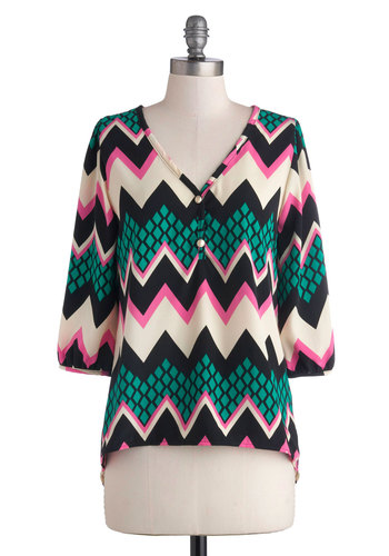 Bright Bryce Canyon Top - Multi, Green, Pink, Black, White, Chevron, Buttons, Casual, Good, Mid-length, Woven, 3/4 Sleeve, Multi, 3/4 Sleeve