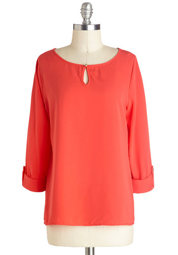 I Feel Grapefruit Top - Solid, Buttons, Work, 3/4 Sleeve, Good, Mid-length, Sheer, Knit, Coral, Casual, Basic, Orange, Tab Sleeve