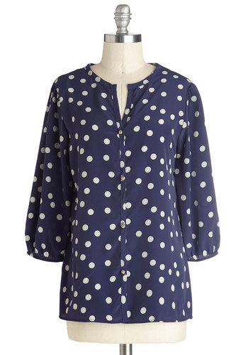 Work Outing Top in Navy - Blue, White, Polka Dots, Buttons, Good, Mid-length, Woven, Work, Casual, 3/4 Sleeve, Variation, Blue, 3/4 Sleeve