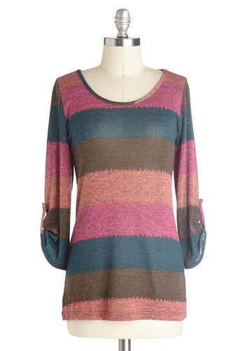 Art School Cool Top - Multi, Orange, Green, Blue, Pink, Stripes, Buttons, Casual, Good, Mid-length, Knit, Multi, Tab Sleeve