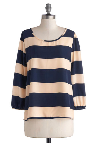 Creative Acumen Top - Pink, Stripes, Casual, 3/4 Sleeve, Good, Mid-length, Woven, Blue, Scoop, Blue, 3/4 Sleeve