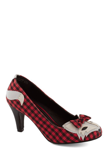Smooth Statement Heel in Plaid - Red, Multi, Plaid, Print with Animals, Bows, Kawaii, Mid, Better, Quirky, Top Rated