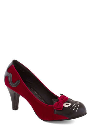 Meow's the Time Heel in Red Velvet - Red, Black, Multi, Print with Animals, Bows, Kawaii, Mid, Better, Party, Quirky, Cats, Faux Leather