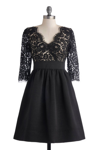 Chez Anything Dress - Mid-length, Sheer, Woven, Black, Solid, Lace, Cocktail, Fit & Flare, 3/4 Sleeve, V Neck, Scallops, Better, LBD