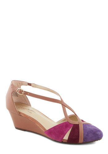 Don't Make Me Brag Wedge in Sunset by Seychelles - Tan, Red, Purple, Pink, Solid, Cutout, Colorblocking, Wedge, Mid, Leather, Better, Variation, T-Strap