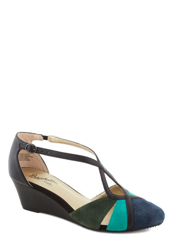 Don't Make Me Brag Wedge in Dawn by Seychelles - Green, Blue, Solid, Cutout, Wedge, Better, Mid, Multi, Black, Colorblocking, Variation, T-Strap