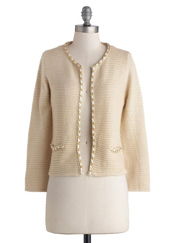 Chain of Scenery Cardigan in Cream - Cream, Solid, Chain, Long Sleeve, Better, Knit, Short, Work, White, Long Sleeve