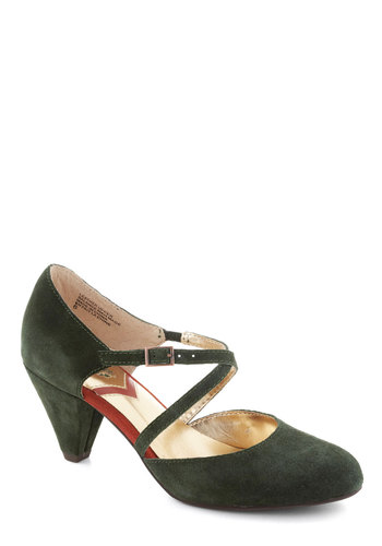 Crying Shame Heel by Seychelles - Green, Orange, Solid, Mid, Leather, Better, Party, Work, Suede, 20s, 30s