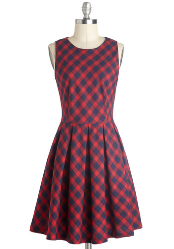 Curriculum of Cuteness Dress - Plaid, Casual, A-line, Good, Crew, Mid-length, Cotton, Woven, Red, Blue, Scholastic/Collegiate, Sleeveless