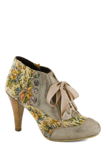Mix and Match Heel in Taupe by Poetic License - Multi, Floral, Buttons, French / Victorian, Mid, Leather, Scallops, Vintage Inspired, 20s, 30s, Variation, Folk Art, Gifts Sale