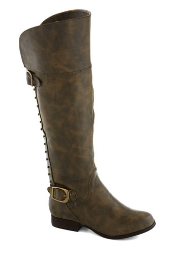 Life's a Snap Boot in Brown - Brown, Buckles, Studs, Better, Low, Faux Leather, Solid, Military