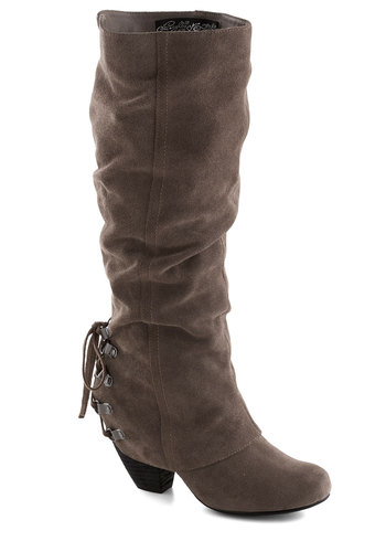 Just Duet Boot in Taupe - Solid, Leather, Lace Up, Variation, Mid, Tan, Fall, Suede, Better