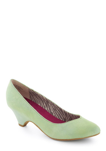 Stand in Awe Heel in Mint by BC Footwear - Mid, Leather, Mint, Solid, Party, Work, Daytime Party, Minimal, Variation, Spring