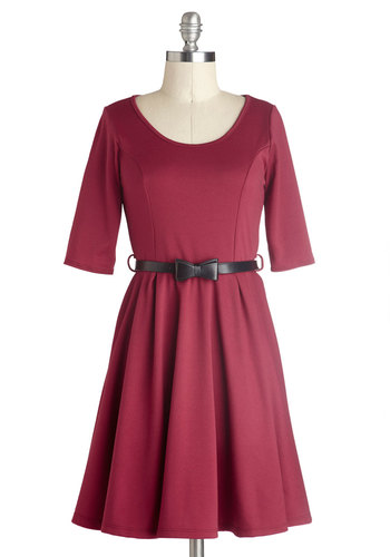 Abiding Beauty Dress in Ruby - Red, Solid, Belted, Casual, Minimal, A-line, 3/4 Sleeve, Good, Scoop, Mid-length, Knit