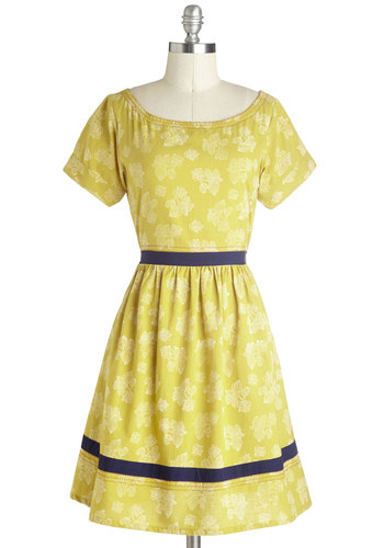 Fleur de Lease Dress by Mata Traders - Yellow, Blue, White, Floral, Trim, Casual, A-line, Short Sleeves, Mid-length, Cotton, Woven, Eco-Friendly, Scoop