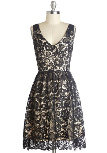 Med School Mixer Dress - Mid-length, Black, Tan / Cream, Lace, Cocktail, A-line, Tank top (2 thick straps), Good, V Neck, Wedding, Party, 20s