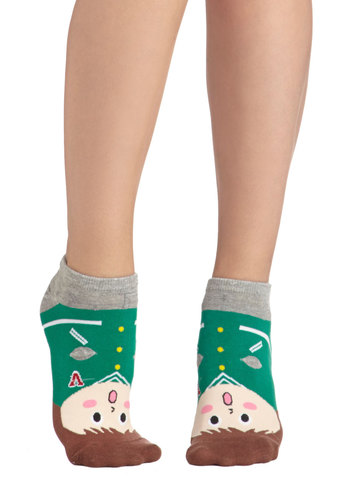 Varsity Views Socks - Green, Multi, Quirky, Scholastic/Collegiate, Good, Cotton, Knit, Novelty Print, Casual