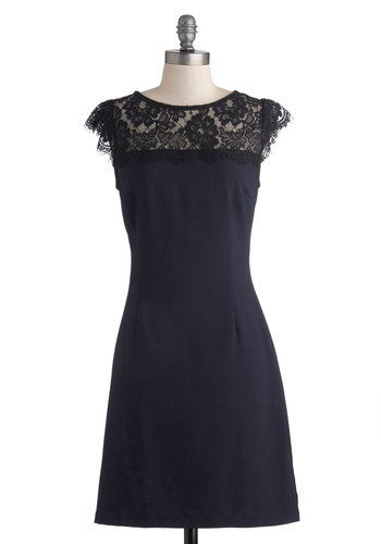 Masterful Maestro Dress - Woven, Mid-length, Sheer, Blue, Solid, Lace, Party, Shift, Cap Sleeves, Good, Crew