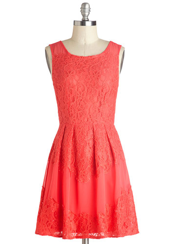 Aperitifs in Paradise Dress - Short, Chiffon, Woven, Solid, Lace, Pleats, A-line, Tank top (2 thick straps), Good, Scoop, Coral, Daytime Party, Exclusives