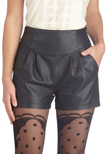 Party to the People Shorts - Faux Leather, Black, Solid, Party, Girls Night Out, Good, Pockets