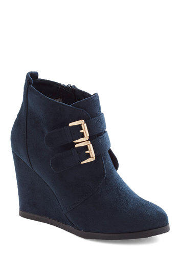Reading Curator Bootie by Restricted - High, Leather, Suede, Blue, Solid, Buckles, Better, Wedge
