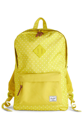 Delightful Doodles Backpack by Herschel Supply Co. - Yellow, White, Polka Dots, Scholastic/Collegiate, Better, Woven