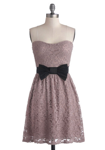 Admired Aesthetic Dress - Short, Purple, Solid, Bows, Lace, Party, A-line, Strapless, Good, Sweetheart, Wedding, Bridesmaid, Lace