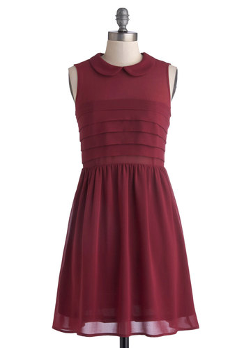 Cranberry Craze Dress - Mid-length, Chiffon, Sheer, Woven, Red, Solid, Peter Pan Collar, Party, A-line, Sleeveless, Good, Collared, Pleats, Work, Daytime Party, 20s