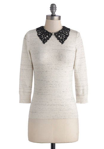 Book Club Hostess Sweater - Cream, Peter Pan Collar, 3/4 Sleeve, Better, Mid-length, Knit, Black, Work, Casual, Collared