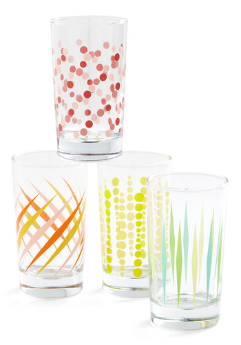 Fizz and Swizzle Glass Set - Multi, Good, Print, Wedding, Mid-Century