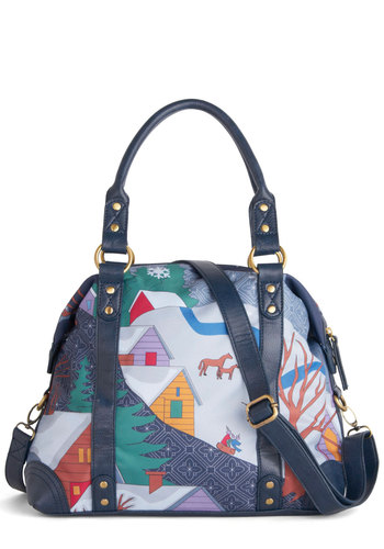 Wonderland I Love Bag - Faux Leather, Multi, Print with Animals, Novelty Print, Casual, Folk Art, Holiday
