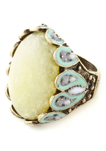 Key Lime Fly Ring - Green, Multi, Solid, Statement, 20s, Top Rated
