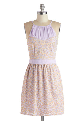 Freesia Spirit Dress - Short, Knit, Purple, Gold, Lace, Party, A-line, Sleeveless, Good, Scoop, Pastel