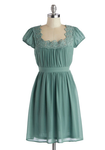 Eucalyptus Complete Me Dress - Green, Solid, Lace, Vintage Inspired, A-line, Cap Sleeves, Scoop, Mid-length, Chiffon, Party