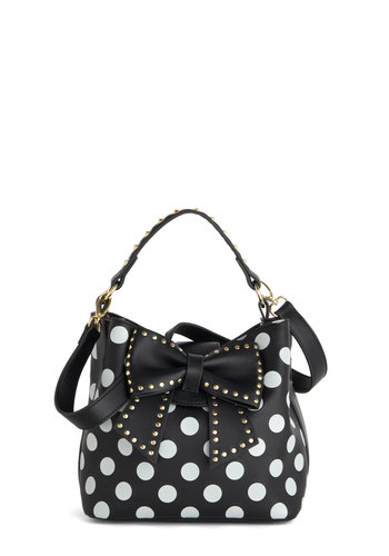 Betsey Johnson Outfit of the Daring Bag by Betsey Johnson - Black, White, Polka Dots, Bows, Best, Studs, Faux Leather